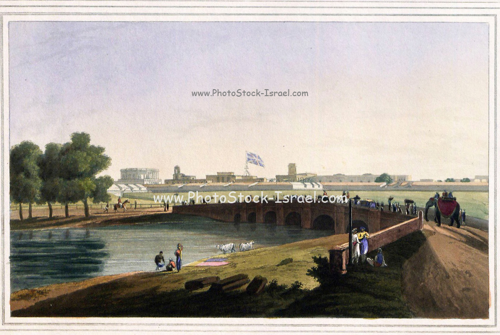 Western Entrance Of Fort St. George; From the book ' Oriental scenery: one hundred and fifty views of the architecture, antiquities and landscape scenery of Hindoostan ' by Thomas Daniell, and William Daniell, Published in London by the Authors July 1, 1812