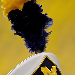 January 3, 2012; New Orleans, LA, USA;  A detailed view of a Michigan Wolverines band members plume prior to kickoff of the Sugar Bowl between the Michigan Wolverines and the Virginia Tech Hokies at the Mercedes-Benz Superdome.  Mandatory Credit: Derick E. Hingle-US PRESSWIRE