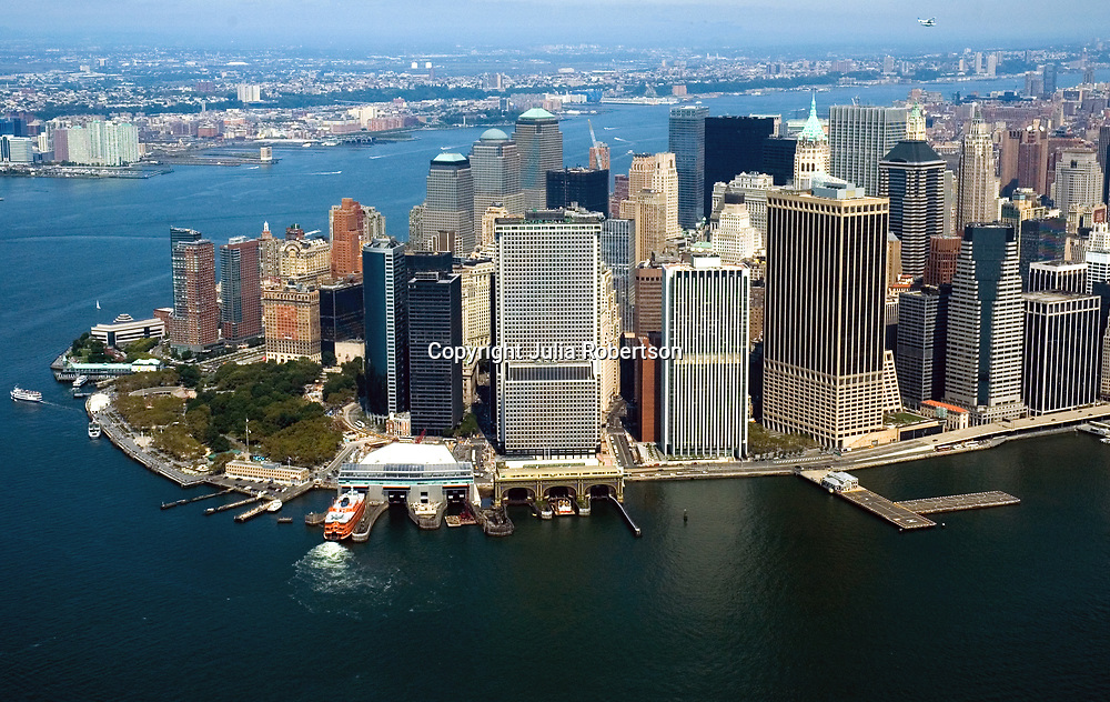Aerial view of Lower manhattan , view north New York City