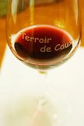 Glass embossed with Terroir de Caux and red wine. Domaine Lacroix-Vanel. Caux. Pezenas region. Languedoc. France. Europe.