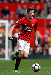 """Manchester United's Ander Herrera during the Premier League match at Old Trafford, Manchester. PRESS ASSOCIATION Photo. Picture date: Sunday April 30, 2017. See PA story SOCCER Man Utd. Photo credit should read: Martin Rickett/PA Wire. RESTRICTIONS: EDITORIAL USE ONLY No use with unauthorised audio, video, data, fixture lists, club/league logos or """"live"""" services. Online in-match use limited to 75 images, no video emulation. No use in betting, games or single club/league/player publications."""