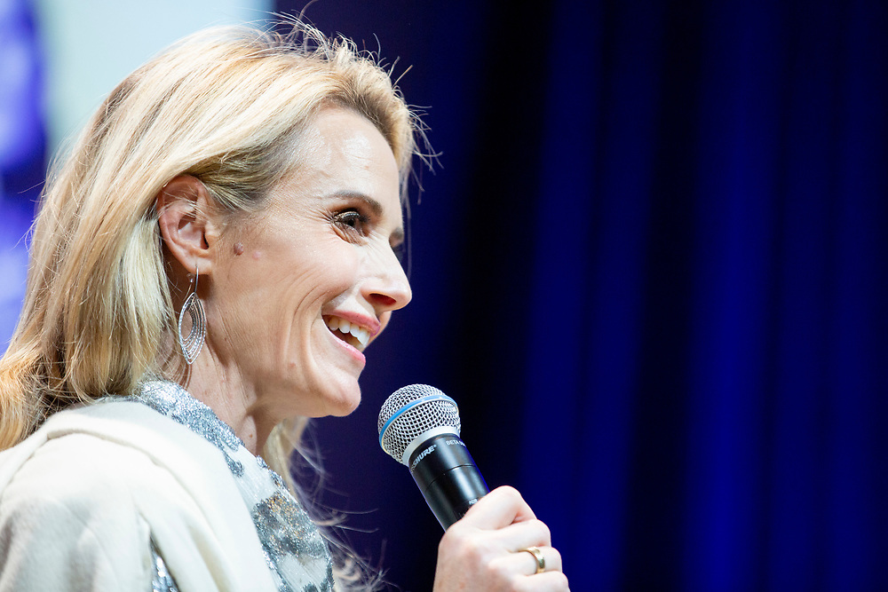 """First partner Jennifer Siebel Newsom moderating a talk with Speaker of the House Nancy Pelosi (D-Calif.) (not pictured) during """"California Votes for Women: A Golden State Suffrage Celebration,"""" an event at the California Museum on Saturday, Nov. 9, 2019, in Sacramento, Calif."""