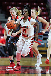 NORMAL, IL - December 16: Te Te Maggett gets a fast break up the court during a college women's basketball game between the ISU Redbirds and the Maryville Saints on December 16 2018 at Redbird Arena in Normal, IL. (Photo by Alan Look)