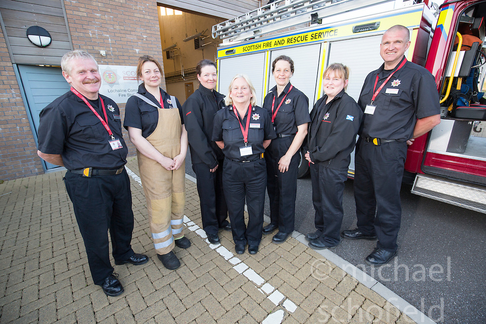 Keith Adams, Annabel Lawrence, Heather Brown, Watch Manager Lesley Jones, Bonny Mealand, Sarah Jones and Rob Capell. News feature on the nearly all-female firefighting crew based at the Fire Shed, Lochaline, on the Morvern Peninsula.