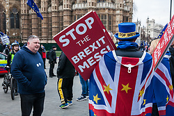 London, UK. 21st January, 2019. Supporters of Yellow Vests UK confront Steve Bray of SODEM (Stand of Defiance European Movement) during a protest outside the Houses of Parliament,