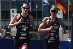 Lucy Hall of Great Britain and Jessica Learmonth of Great Britain during the Elite Women race of the Discovery Triathlon World Cup Cape Town leg held at Green Point in Cape Town, South Africa on the 11th February 2017.<br /> <br /> Photo by Shaun Roy/RealTime Images