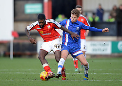 Gillingham's Jake Hessenthaler tussles for possession with Crewe Alexandra's Anthony Grant - Photo mandatory by-line: Richard Martin-Roberts - Mobile: 07966 386802 - 10/01/2015 - SPORT - Football - Crewe - Alexandra Stadium - Crewe Alexandra v Gillingham - Sky Bet League One