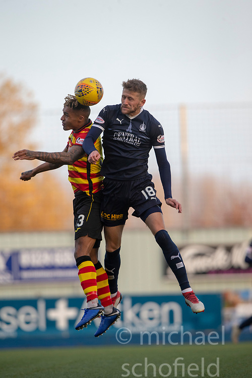 Partick Thistle's Jai Quitongo and Falkirk's Patrick Brough. half time : Falkirk 0 v 0 Partick Thistle, Scottish Championship game played 17/11/2018 at The Falkirk Stadium.