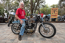 Patch on his 1969 Harley-Davidson 900 cc Ironhead Sportster barn find he recently rebuilt at Warren Lane's True Grit Antique Gathering bike show at the Broken Spoke Saloon in Ormond Beach during Daytona Beach Bike Week, FL. USA. Sunday, March 10, 2019. Photography ©2019 Michael Lichter.
