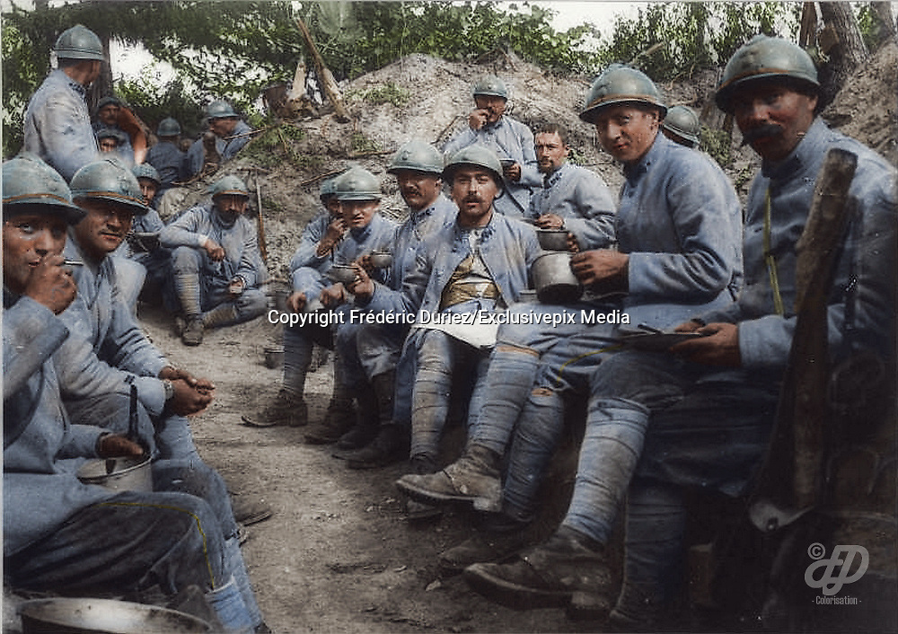 "Colorized photographs soldiers from the World War One<br /> <br /> With his impressive colorized photographs of the World War One, Frédéric Duriez gives us a new look at the conflict that ravaged the world between 1914 and 1918, revealing the difficult daily life of the French soldiers. <br /> <br /> Photo Shows: ""Bois des Buttes September 17, 1917 .<br /> The soup in the lines of the 204th Infantry Regiment .<br /> During this period the sector is """"quiet"""" . September 25 to 21:30 , the Germans sending a burst of 77 and kill 10 men of the 22th Company.<br /> ©Frédéric Duriez/Exclusivepix Media"