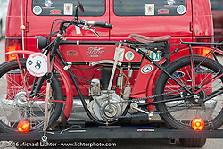 Joe Gimpel's Class-1 single-cylinder single-speed 1913 Thor photographed outside the Twisted Oz Museum at a hosted dinner stop during Stage-7 from Springfield, MO to Wichita, KS. USA. Friday September 16, 2016. Photography ©2016 Michael Lichter.