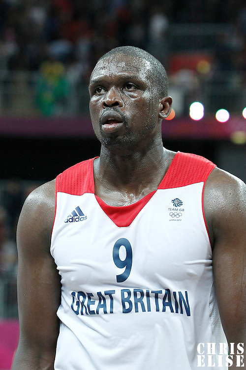 31 July 2012: Great Britain Luol Deng looks dejected after 67-62 Team Brazil victory over Team Great Britain, during the men's basketball preliminary, at the Basketball Arena, in London, Great Britain.