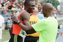 Samsung Diamond League adidas Grand Prix track & field; men's 800 meters, David Rudisha, KEN, winner, post race, congratulated by Bernard Lagat