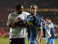Photo: Olly Greenwood.<br />Charlton Athletic v Wycombe Wanderers. Carling Cup. 19/12/2006. Wycombe goalscorer Jermaine Easter celebrates victory with Ikechi Anya