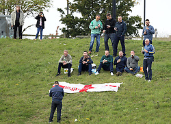 Hartlepool United fans sit on the bank overlooking Sixfields - Mandatory byline: Robbie Stephenson/JMP - 07966 386802 - 10/10/2015 - FOOTBALL - Sixfields Stadium - Northampton, England - Northampton Town v Hartlepool - Sky Bet League Two