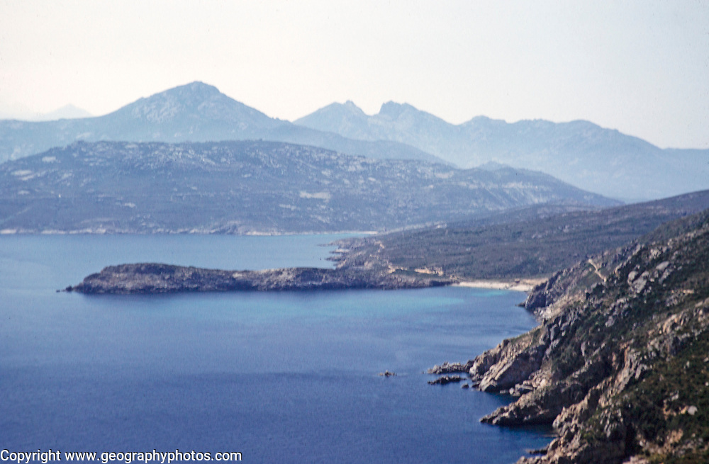 Landscape view of rocky undeveloped coastline, , island of Ibiza, Balearic Islands, Spain, 1950s