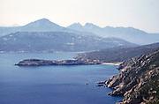 Landscape view of rocky undeveloped coastline, , island of Ibiza, Balearic Islands, Spain, 1950s