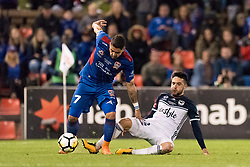 May 5, 2018 - Newcastle, NSW, U.S. - SYDNEY, NSW - MAY 05: Melbourne Victory midfielder Stefan Nigro (22) tackles Newcastle Jets forward Dimi Petratos (7) at the A-League Grand Final Soccer Match between Newcastle Jets and Melbourne Victory on May 5, 2018 at McDonald Jones Stadium in Newcastle, Australia. (Photo by Speed Media/Icon Sportswire) (Credit Image: © Speed Media/Icon SMI via ZUMA Press)