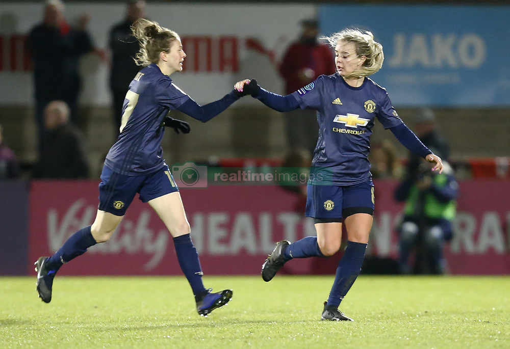 February 7, 2019 - London, England, United Kingdom - Mollie Green of Manchester United Women  celebrates scoring her sides first goal with Ella Toone of Manchester United Women .during FA Continental Tyres Cup Semi-Final match between Arsenal and Manchester United Women FC at Boredom Wood on 7 February 2019 in Borehamwood, England, UK. (Credit Image: © Action Foto Sport/NurPhoto via ZUMA Press)