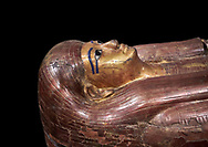 Acient Egyptian sacophagus of Kha -  inner coffin from  tomb of Kha, Theban Tomb 8 , mid-18th dynasty (1550 to 1292 BC), Turin Egyptian Museum.  black background .<br /> <br /> If you prefer to buy from our ALAMY PHOTO LIBRARY  Collection visit : https://www.alamy.com/portfolio/paul-williams-funkystock/ancient-egyptian-art-artefacts.html  . Type -   Turin   - into the LOWER SEARCH WITHIN GALLERY box. Refine search by adding background colour, subject etc<br /> <br /> Visit our ANCIENT WORLD PHOTO COLLECTIONS for more photos to download or buy as wall art prints https://funkystock.photoshelter.com/gallery-collection/Ancient-World-Art-Antiquities-Historic-Sites-Pictures-Images-of/C00006u26yqSkDOM