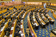 08 AUGUST 2014 - BANGKOK, THAILAND: Members of the Thai National Legislative Assembly (NLA) met Friday at the Parlimanet Building in Bangkok to elect legislative leadership. The NLA was appointed by the Thai junta, formally called the National Council for Peace and Order (NCPO), and is supposed to guide Thailand back to civilian rule after a military coup overthrew the elected government in May. There are 197 members of the NLA. Membership is tilted towards military personnel. From the Royal Thai Army 40 members are Generals, 21 are Lt. Generals and 7 are Major Generals. From the Royal Thai Air Force 17 are Air Chief Marshals and 2 are Air Marshals. From the Royal Thai Navy, 14 are Admirals and 5 are Vice Admirals. There are also 6 Police Generals and 3 Police Lt. Generals. There are 187 men in the NLA and only 10 women.        PHOTO BY JACK KURTZ