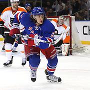 Carl Hagelin, New York Rangers, in action during the New York Rangers Vs Philadelphia Flyers, NHL regular season game at Madison Square Garden, New York, USA. 26th March 2014. Photo Tim Clayton