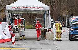 26.10.2019, Innsbruck, AUT, Coronavirus in Österreich, Die COVID-19 Pandemie ist ein Ausbruch der neuartigen Atemwegserkrankung COVID-19. Der Ausbruch war erstmals Ende Dezember 2019 in der Millionenstadt Wuhan der chinesischen Provinz Hubei auffällig geworden, entwickelte sich im Januar 2020 zur Epidemie in der Volksrepublik China und breitete sich weltweit aus, im Bild Seit Mittwoch ist in Innsbruck eine Drive-in-Teststraße in Betrieb, bei der mögliche CoV-Verdachtsfälle mit dem Auto für einen Abstrich vorfahren können. Dafür ist allerdings eine Zuweisung durch die Gesundheitshotline 1450 notwendig. // during a A drive in test road has been in operation in Innsbruck since Wednesday, in which possible suspected CoV cases can be brought up by car for a smear. However, this requires an assignment through the health hotline 1450. The COVID-19 pandemic is an outbreak of the novel respiratory disease COVID-19. The outbreak had first become noticeable at the end of December 2019 in the city of Wuhan in the Chinese province of Hubei, developed into an epidemic in the People's Republic of China in January 2020 and spread worldwide. Innsbruck, Austria on 2019/10/26. EXPA Pictures © 2020, PhotoCredit: EXPA/ Erich Spiess