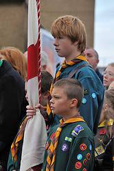 Cubs & Scouts at Remembrance Day service UK