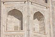 The Taj Mahal mausoleum, southern view detail, Uttar Pradesh, India