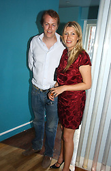 TOM PARKER BOWLES and his wife SARA at a party to celebrate the publication of 'How to Party' by Yasmin Mills with illustrations by Olympia Scarry, held at the Fifth Floor Restaurant, Harvey Nichols, Knightsbridge, London on 3rd July 2006.<br />