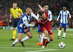 March 6, 2018 - Liverpool, U.S. - 6th March 2018, Anfield, Liverpool, England; UEFA Champions League football, round of 16, 2nd leg, Liverpool versus FC Porto; Adam Lallana of Liverpool struggles to escape the challenge of Andre Andre of Porto (Photo by Dave Blunsden/Actionplus/Icon Sportswire) ****NO AGENTS---NORTH AND SOUTH AMERICA SALES ONLY****NO AGENTS---NORTH AND SOUTH AMERICA SALES ONLY* (Credit Image: © Dave Blunsden/Icon SMI via ZUMA Press)