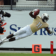UCF Knights wide receiver Breshad Perriman (11) dives into the end zone during an NCAA football game between the South Carolina Gamecocks and the Central Florida Knights at Bright House Networks Stadium on Saturday, September 28, 2013 in Orlando, Florida. The play was ruled down at the 2 yard line.(AP Photo/Alex Menendez)