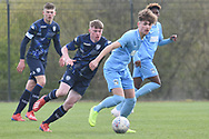 Leeds United Jack Jenkins battles for ball during the U18 Professional Development League match between Coventry City and Leeds United at Alan Higgins Centre, Coventry, United Kingdom on 13 April 2019.