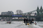 Greater London. United Kingdom, Cambridge women's Blue Boat approaching Hammersmith Bridge.  University Boat Races , Cambridge University vs Oxford University. Putney to Mortlake,  Championship Course, River Thames, London. <br /> <br /> Saturday  24.03.18<br /> <br /> [Mandatory Credit  Intersport Images]