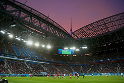 SAINT PETERSBURG, RUSSIA - Tuesday, June 19, 2018: A red sky over the stadium during the FIFA World Cup Russia 2018 Group A match between Russia and Egypt at the Saint Petersburg Stadium. (Pic by David Rawcliffe/Propaganda)