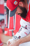 Starting pitcher Matt Shoemaker sits in the dugout in between innings of the Angels' preseason game against the Chicago Cubs at Angel Stadium Sunday.<br /> <br /> <br /> ///ADDITIONAL INFO:   <br /> <br /> angels.0404.kjs  ---  Photo by KEVIN SULLIVAN / Orange County Register  --  4/3/16<br /> <br /> The Los Angeles Angels take on the Chicago Cubs at Angel Stadium during a preseason game at Angel Stadium Sunday.<br /> <br /> <br />  4/3/16