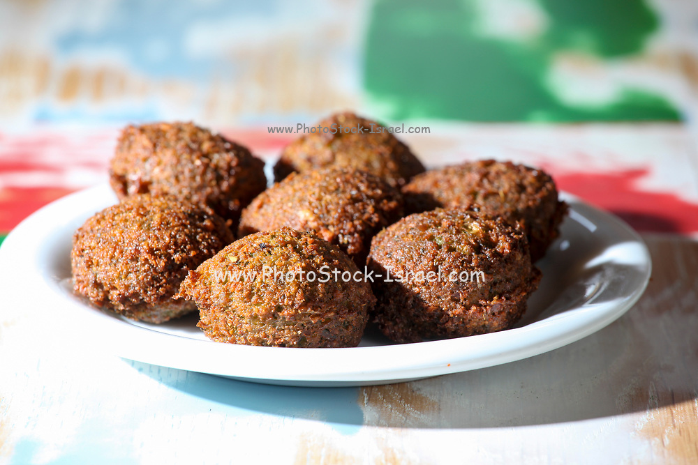 A plate falafel balls (deep fried ground chickpea)