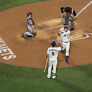 Josh Satin, New York Mets, after hitting a home run during the New York Mets V Arizona Diamondbacks Major League Baseball game  at Citi Field, Queens, New York. USA. 3rd July 2013. Photo Tim Clayton