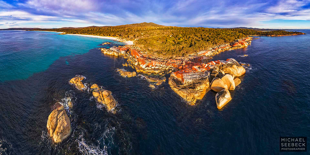 An aerial panoramic view of a rocky headland along the Bay of Fires coastland, with a beautiful white sandy beach extending to the south (left).<br /> <br /> Code: AADC0001<br /> <br /> Limited Edition of 125 Prints