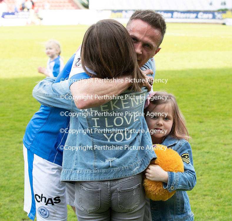St Johnstone v Ross County…12.05.18…  McDiarmid Park    SPFL<br />Chris Millar hugs daughters Sophia and Ellie<br />Picture by Graeme Hart. <br />Copyright Perthshire Picture Agency<br />Tel: 01738 623350  Mobile: 07990 594431