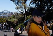 Child (10 years old) at Taronga Park Zoo, with Sydney Harbour Bridge in background. Sydney, Australia