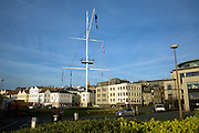 Roundabout with mast town centre, St Peter Port, Guernsey, Channel Islands, UK