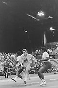 Millwall, London,  24th November 1990<br /> , Women's International Netball, England vs Australia, London Arena, [© Peter Spurrier/Intersport Images],<br /> <br /> England Squad line-up - Sheila Edwards, Sandra Fairweather, Jane Hyons, Lucia Sdao, Lisa Toplis, Cynthia Duncan, ???, Sally Young, Karen Fenlon, Maggie Farrell, Joan Bryan.