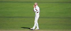 Somerset's Jack Leach reacts to a chance.  - Mandatory byline: Alex Davidson/JMP - 07966386802 - 12/09/2015 - CRICKET - The County Ground -Taunton,England - Somerset CCC v Hampshire CCC - Day 4