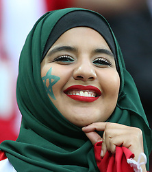 June 25, 2018 - Kaliningrad, Russia - A female fan of Morocco is seen prior to the 2018 FIFA World Cup Group B match between Spain and Morocco in Kaliningrad. (Credit Image: © Li Ming/Xinhua via ZUMA Wire)