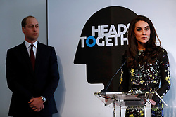 The Duchess of Cambridge speaks at the Institute of Contemporary Arts in London where she and the Duke of Cambridge and Prince Harry were outlining the next phase of their mental health Heads Together campaign.