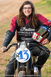 The Spirit of Sturgis antique motorcycle flat track race organizer Brittany Olsen at the historic Sturgis Half Mile during the 78th annual Sturgis Motorcycle Rally. Sturgis, SD. USA. Monday August 6, 2018. Photography ©2018 Michael Lichter.