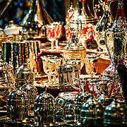 Silverware and glassware for sale in a store in Istanbul's historic Grand Bazaar. Ornate tea sets, like the ones in this shot, are a common items to be found throughout the bazaar.