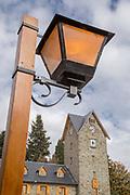 Close-up of lamp post near Civic Centre (Centro Civico) and main square in downtown Bariloche City - San Carlos de Bariloche, Argentina