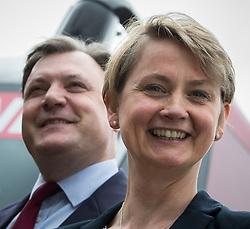 © Licensed to London News Pictures . 14/06/2016 . Blackburn , UK . Yvette Cooper MP and her husband , former MP Ed Balls , campaign for Remain , in the EU referendum , at Shadsworth Children's Centre in Blackburn . Photo credit : Joel Goodman/LNP